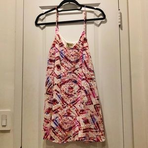 Pink patterned mini dress